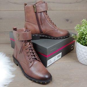 NIB Vince Camuto Talorini Brown Combat Moto Boots